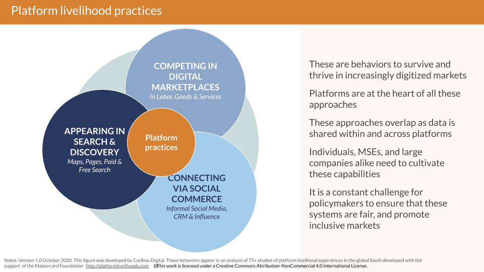 outlines three kinds of platform livelihood practices - social marketplace and search