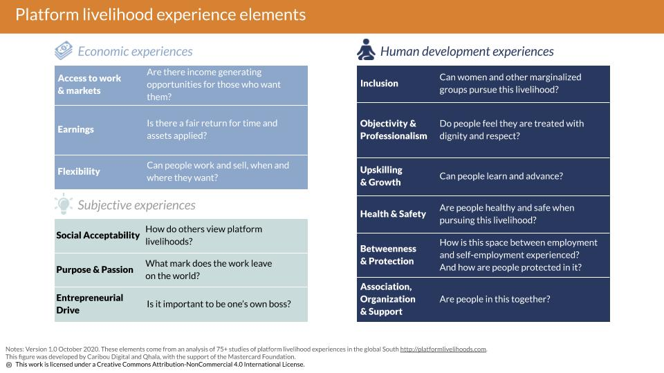 Describes 12 elements of an individuals experience with plaform livelihoods